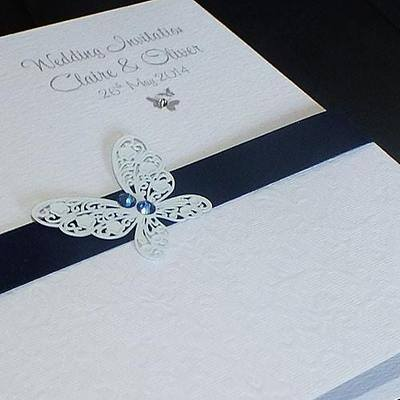 BUTTERFLY (BLUE) HANDMADE CLASSIC FOLD INVITATION CARD