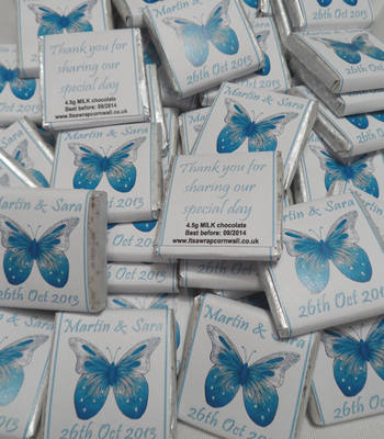 BUTTERFLY (TURQUOISE) - mini 4.5g chocolate favour