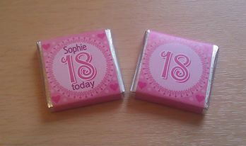 18th BIRTHDAY (PINK)  - mini 4.5g chocolate favour