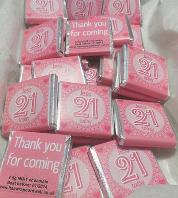 21ST BIRTHDAY (PINK) - mini 4.5g chocolate favour