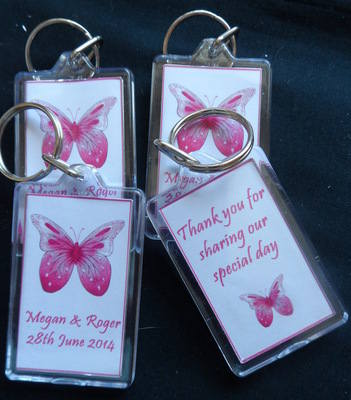 PINK BUTTERFLY - personalised wedding favour keyring