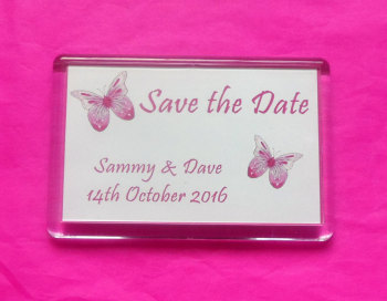 PINK BUTTERFLY - personalised magnet (2 sizes)