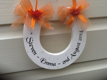 PERSONALISED WOODEN HORSESHOE (choice of colours)