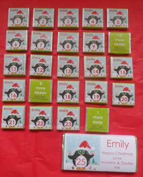 PENGUIN ADVENT (24 mini squares and 1 x 40g large bar) in christmas organza bag