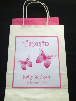 PINK BUTTERFLY - favour or gift bag
