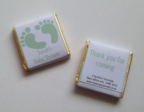 BABY GREEN FOOTPRINTS - mini 4.5g chocolate favour