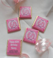 60th BIRTHDAY (PINK) - mini 4.5g chocolate favour