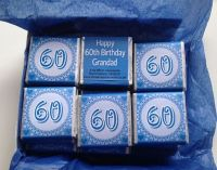 60th BIRTHDAY (BLUE) - mini 4.5g chocolate favour