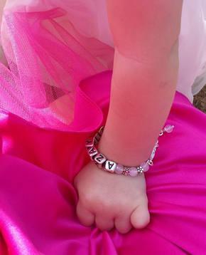 Pale pink bracelet on