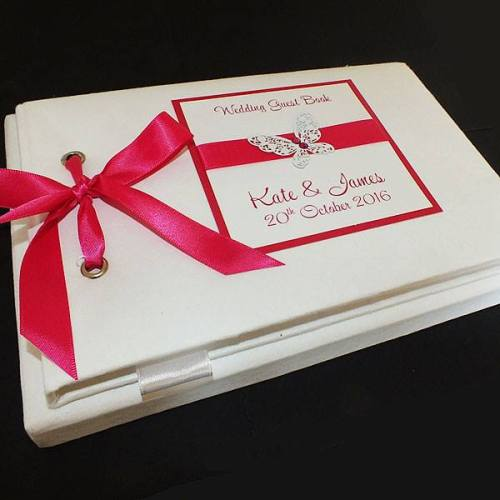 BUTTERFLY (hot pink accent) personalised wedding guest book
