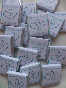 HEARTS ENTWINED (TURQUOISE) - mini 4.5g chocolate favour