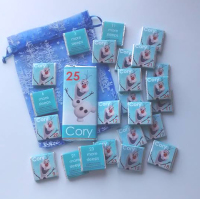 OLAF FROZEN ADVENT (24 mini squares and 1 x 40g large bar) in christmas organza bag