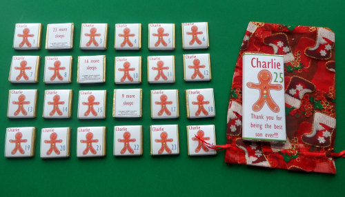 GINGERBREAD MAN ADVENT (mini chocs, love hearts or mixed)