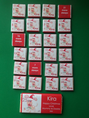 PUPPY ADVENT (24 mini squares and 1 x 40g large bar) in christmas organza bag