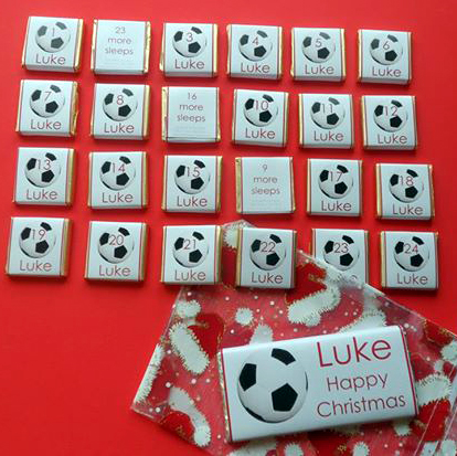 FOOTBALL ADVENT (24 mini squares and 1 x 40g large bar) in christmas organza bag