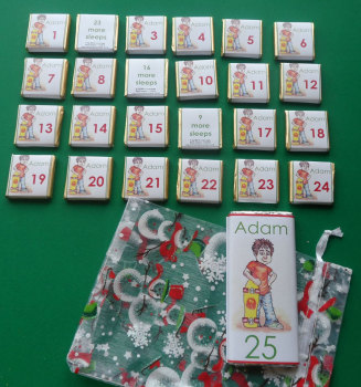 SKATER BOY ADVENT (24 mini squares and 1 x 40g large bar) in christmas organza bag