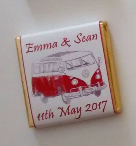 RED CAMPER VAN - mini 4.5g chocolate favour