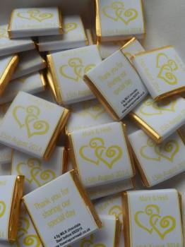 YELLOW HEARTS ENTWINED - mini 4.5g favour