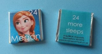 ANNA FROZEN ADVENT (24 mini squares and 1 x 40g large bar) in christmas organza bag