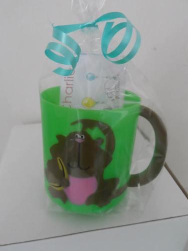MONKEY (with banana) CHOC 'n' MUG - 40g personalised bar in child's plastic mug