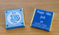 18th BIRTHDAY (BLUE)  - mini 4.5g chocolate favour