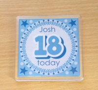 18th BIRTHDAY (BLUE) - coaster