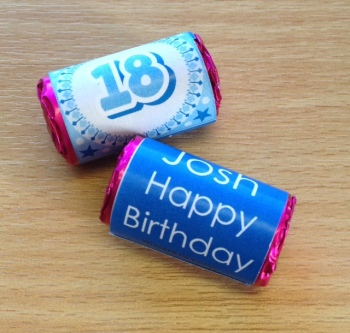 18th BIRTHDAY (BLUE) - love hearts (2 sizes)