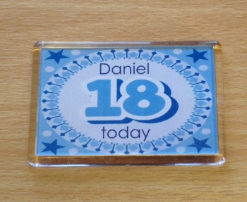 18th BIRTHDAY (BLUE) - magnet (2 sizes)