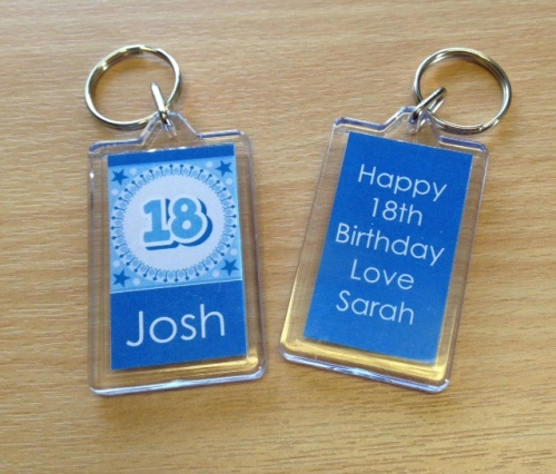 18th BIRTHDAY (BLUE) - keyring