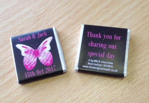 PINK BUTTERFLY (black background) - mini 4.5g chocolate favour