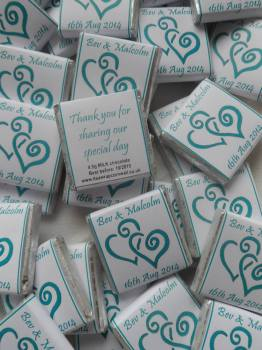 HEARTS ENTWINED (teal) - mini 4.5g chocolate favour