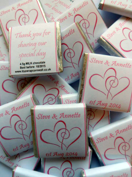 HEARTS ENTWINED (pale pink) - mini 4.5g chocolate favour