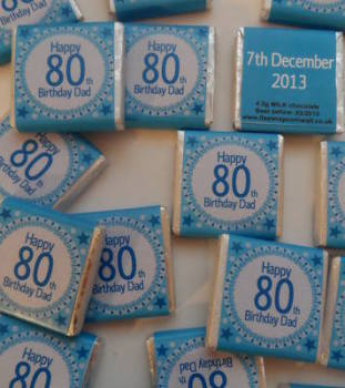 80TH BIRTHDAY (BLUE) - mini 4.5g chocolate favour