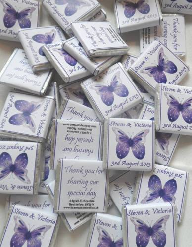 PURPLE BUTTERFLY (white background) - mini 4.5g chocolate favour