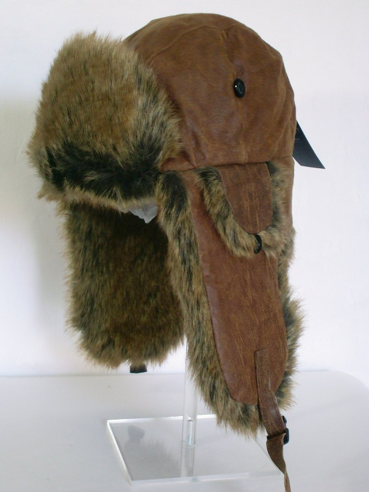 Whiteley Unisex Real Leather Trapper with Faux Fur BROWN