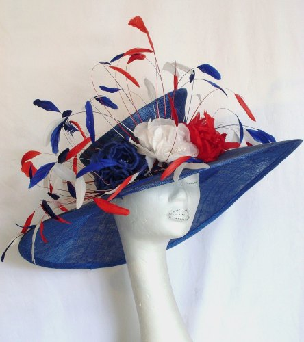 Stunning handmade Red, White & Blue large brimmed hat