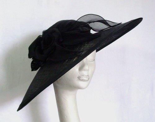 Whiteley Black Hat Large brimmed with silk rose 528/232