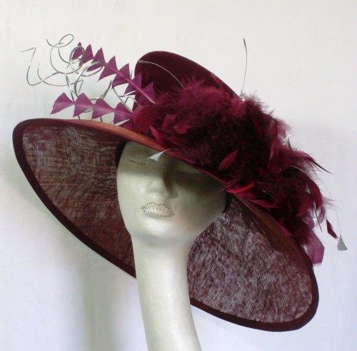 Cranberry Felt & Sinamay Large brim hat