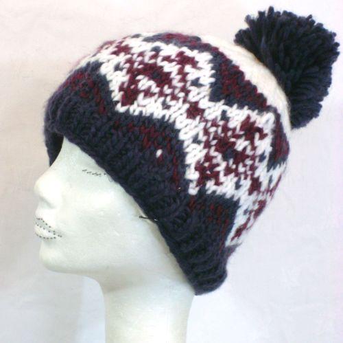 Hand Knit Purple and Morello bobble hat