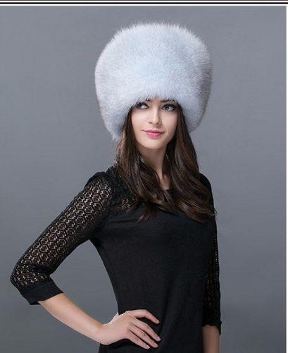 Pale grey fox fur hat