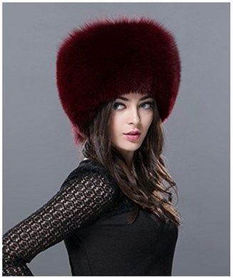 Deep cossack style Red Wine fox fur hat