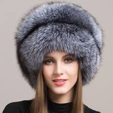 Deep Cossack style silver grey fox fur hat