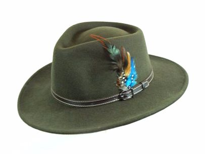 Denton Olive Wool Outbacker Hat - Teflon coated