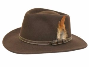 Denton Dark Brown Wool Outbacker Hat - Teflon coated