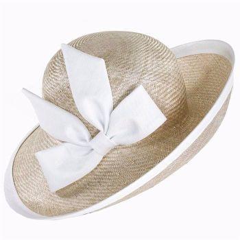 Whiteley hat 011/400 String Nude & White linen trim