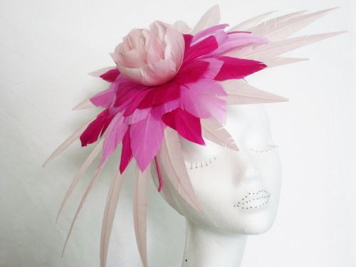 Peter Bettley Feather Fascinator Pinks