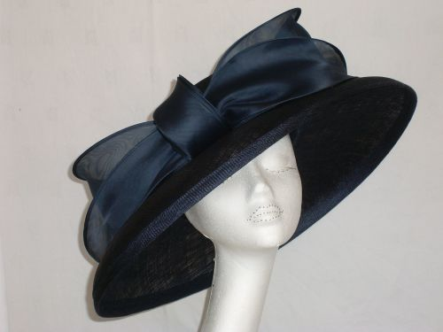 Navy hat with large organza bow detail WHC-429/829