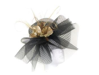 Black and Gold large crin fascinator ANN-018