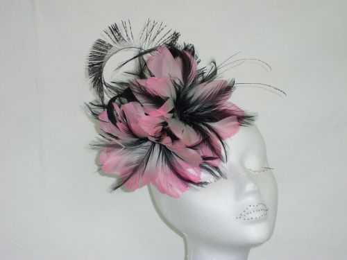 Pink & Black feather fascinator BETH-10035