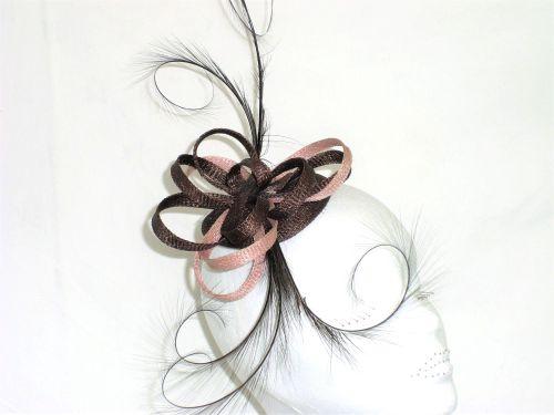 Chocolate Brown & Dusky pink handmade fascinator on comb HNS-CK